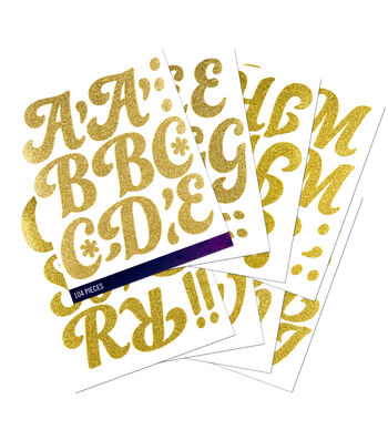 Sticko® 104 Pack Funkydori X-Large Glitter Alphabet Stickers-Gold