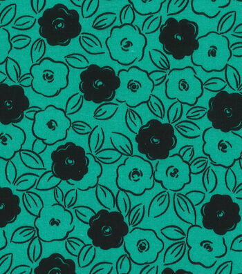 Quilter's Showcase™ Fabric 44''-Pool Green & Black Floral