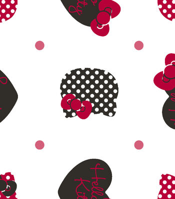 Sanrio Hello Kitty Flannel Fabric 42''-Dots All Over