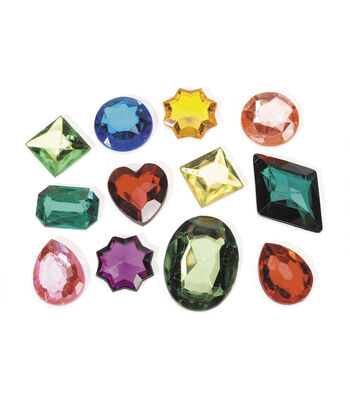 1lb. Bag of Large Acrylic Rhinestone Shapes, Asst. Colors