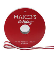 Maker's Holiday Christmas Ribbon 3/8''x9'-White with Red Edge, , hi-res