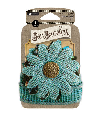 Embellished Burlap Flowers For Pint Jars W/Tie-Turquoise