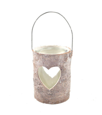 Bloom Room Bark And Glass Candleholder With Heart