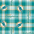 Miami Dolphins Fleece Fabric 58\u0027\u0027-Plaids
