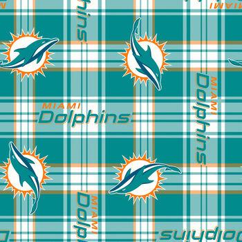 "Miami Dolphins Fleece Fabric 58""-Plaid"