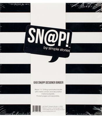 """Sn@p! Designer Binder 6""""X8""""-Black Stripe"""