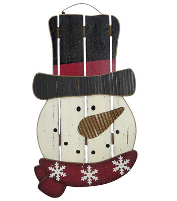 Maker's Holiday Christmas Snowman Wood Plank