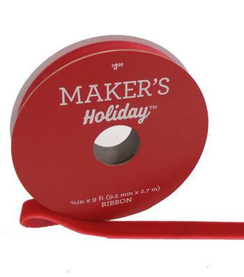 Maker's Holiday Christmas Velvet Ribbon 3/8''x9'-Red