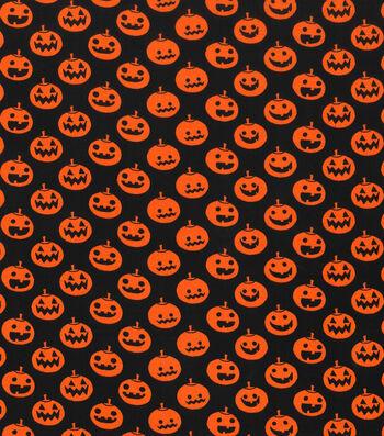 Halloween Cotton Fabric 43''-Large Pumpkins on Black