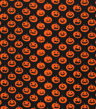 holiday showcase halloween cotton fabric 43 large pumpkins on black - Halloween Lace Fabric