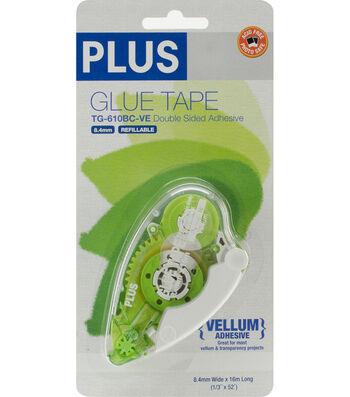 """Plus Permanent Vellum Glue Tape Dispenser-.3""""X52.5'"""
