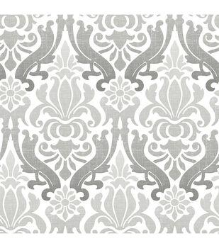 Wallpops Nuwallpaper Grey Nouveau Damask L Stick Wallpaper