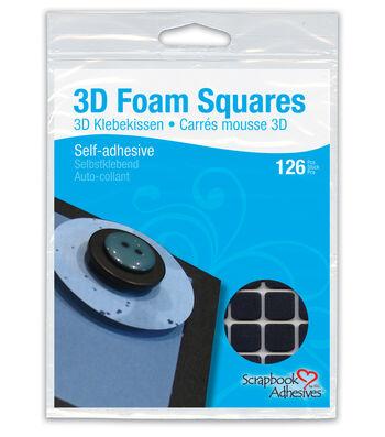 "Scrapbook Adhesives 1/2""x1/2"" 3D Foam Squares-126PK/Black"