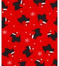 Holiday Showcase™ Christmas Cotton Fabric 43\u0027\u0027-Christmas Dog on Red