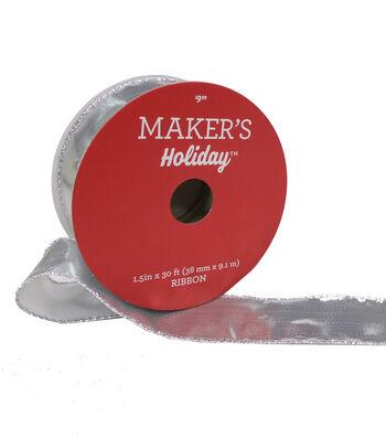 Maker's Holiday Christmas Lame Ribbon 1.5''x30'-Silver