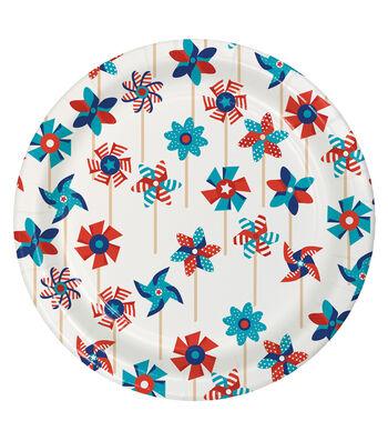 Americana Patriotic 8 Pack  9'' Paper Dinner Plates-Pinwheel