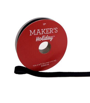 Maker's Holiday Christmas Velvet Ribbon 3/8''x9'-Black