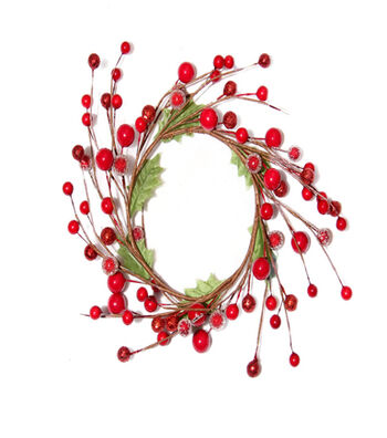 Blooming Holiday Christmas 3.5'' Berry & Leaves Mini Wreath-Red