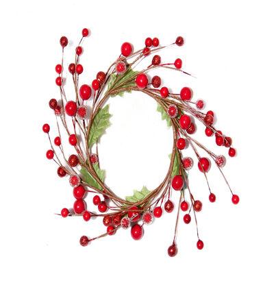 Blooming Holiday Christmas 3.5u0027u0027 Berry U0026 Leaves Mini Wreath Red