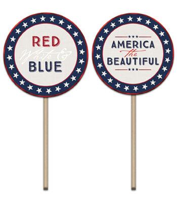 Americana Patriotic 12 pk 2''x3.5'' Cupcake Picks-Words
