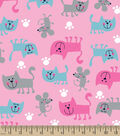 Snuggle Flannel Fabric 44\u0027\u0027-Pink Cats & Mice