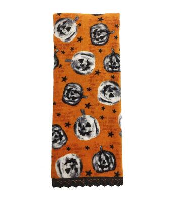 Maker's Halloween Velour & Terry Hand Towel-Jack O Lantern Tumble