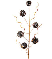 Blooming Holiday 30'' Medium Pinecone Spray with White Tip-Brown & White, , hi-res