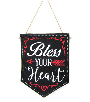 Valentine's Day Canvas Banner-Bless Your Heart