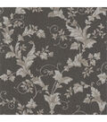 Thames Charcoal Leafy Scroll Wallpaper