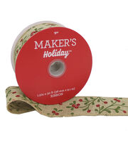 Maker's Holiday Christmas Linen Ribbon 1.5''x30'-Red Berry on Beige, , hi-res