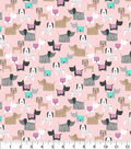 Novelty Cotton Fabric 43\u0022-Watercolor Pups On Pink