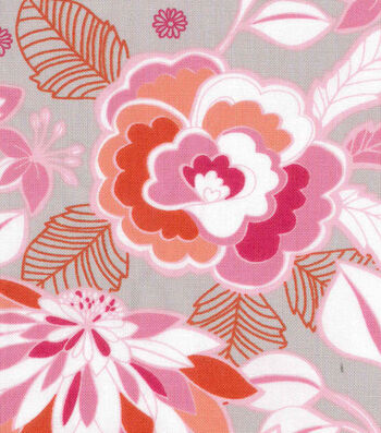 "Keepsake Calico™ Cotton Fabric 43""-Pink Flamingo Floral On Gray"