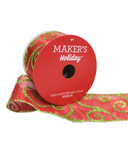 Maker's Holiday Christmas Satin Ribbon 2.5''x25'-Glitter Swirls on Red, , hi-res