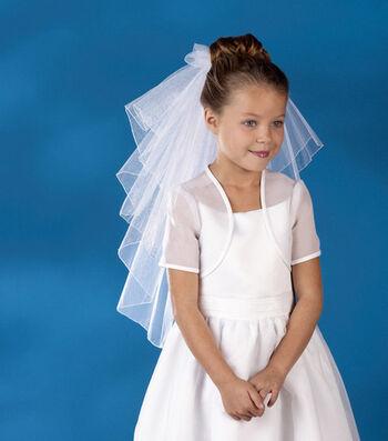 Wilton® Tiered Rolled Endge Communion Veil-White