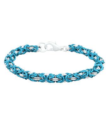 Weave Got Maille 2-Color Byzantine Bracelet Kit-Turquoise & Silver