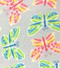 Anti-Pill Fleece Fabric 59\u0022-Cool And Warm Butterflies On Grey