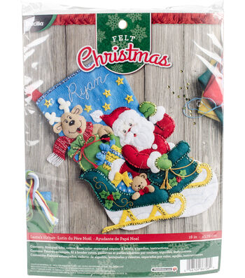 "Santa's Helper Stocking Felt Applique Kit 18"" Long"