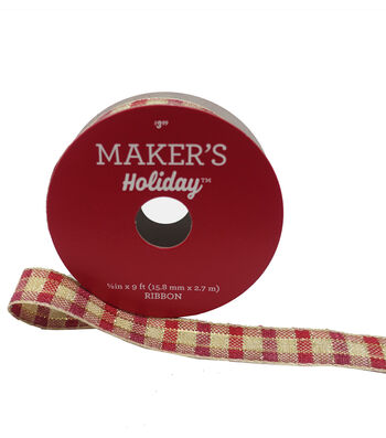 Maker's Holiday Christmas Ribbon 5/8''X9'-Beige & Red Plaid