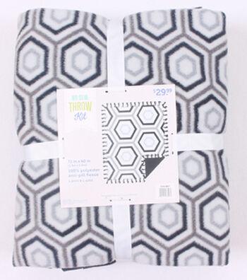 """No-Sew Throw Fleece Fabric 72""""-Gray Black Hexagon"""