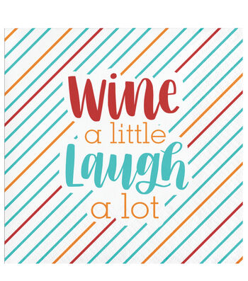 Maker's Holiday Christmas Beverage Napkin-Wine a Little Laugh a Lot
