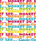 Curious George Flannel Fabric 42\u0027\u0027-Monkey See Monkey Do