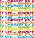 Curious George Flannel Fabric 42\u0027\u0027-Monkey See Monkey Do