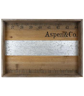 Farm Storage Medium Wooden Tray with Galvanized Accent