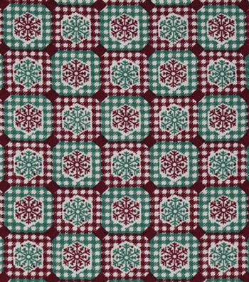 """Christmas Cotton Fabric 43""""-Snowflake Diamond Plaid"""
