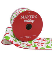 Maker's Holiday Christmas Ribbon 2.5''x25'-Peppermint Candy on White, , hi-res