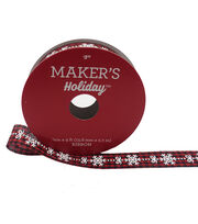 Maker's Holiday Ribbon 5/8''X9'-Snowflake & Bow on Red & Black Plaid, , hi-res