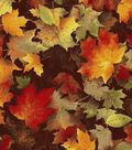 Harvest Cotton Fabric 44\u0022-Maple Leaves Chocolate