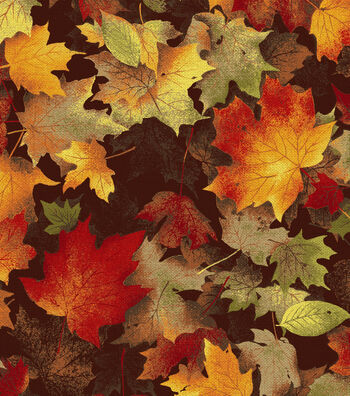 "Harvest Cotton Fabric 44""-Maple Leaves Chocolate"