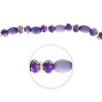 """Blue Moon Beads 7"""" Crystal Strand, Cat's Eye with Metal Spacers, Purple"""