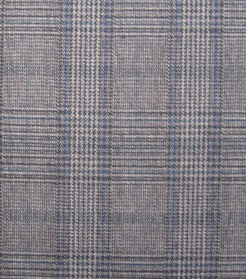 Fashion Suiting- Suit Plaid Gray Blue Fabric